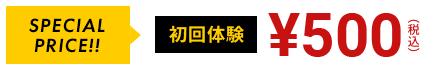 specialprice 初回体験 500円(税込み)